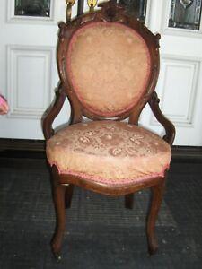 Antique Victorian Eastlake Walnut Parlor Chair