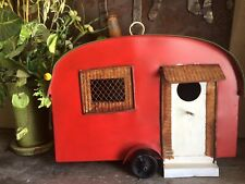Primitive Metal Camper Birdhouse Embossed Country Rustic Distressed Red/Green
