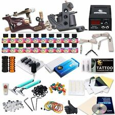 New Complete Tattoo Machine Kit 2 Gun Inks Power Supply Needle Foot Pedal Set