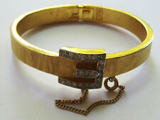 TRIFARI VINTAGE BRUSHED GOLD CLEAR RHINESTONE BUCKLE HINGED BRACELET