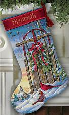 Cross Stitch Kit Dimensions Christmas Sled Cardinal Birds Stocking #8819