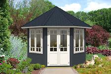 Gartenpavillon Katrin-34 mit 2 Fenstern Holz 28 mm 337 cm Spitzdach Gartenhaus