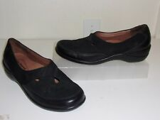 Hush Puppies Black Suede & Leather Loafers Size 9 Shoes Slip Ons Flats