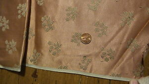 """Vintage Satin Upholstery Pc BROWN FLORAL ON BROWN 68""""X19"""""""