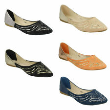 SPOT ON F8R973 LADIES SLIP ON POINTED TOE FLATS STUDDED DETAIL BALLERINA SHOES