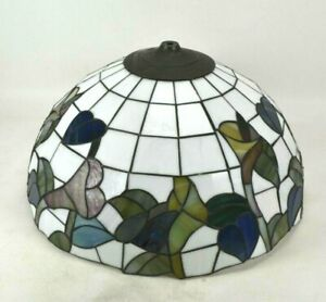 """Tiffany Style Stained Glass Replacement Shade 19"""" D Lamp Ceiling Hanging Floral"""