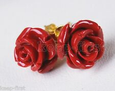 Fashion 12mm Natural Red Coral Flower Yellow gold plating Stud Earrings  AAA