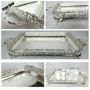 Silver Large 40cm Rectangle Elegant Serving Tray Handles Tea Tray Indian Italian