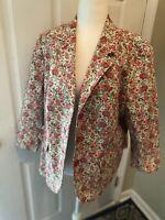 VTG Talbots Blazer 16 WP Jacket Shabby Chic Floral - Pink Lining - Vintage