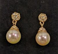 Vintage Gold Tone Faux Pearl Crystal Drop Ball Dangle Earrings 15040