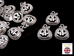 10 Pcs Tibetan Silver Halloween Pumpkin Charms 18mm Craft Beading Jewellery J113