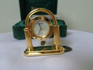 BULOVA BERKELEY Collectible Mini Gold Desk Watch Clock Japan Movement MOP Dial