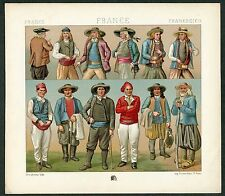 VINTAGE 1800's Color Costume Plate, Fashions of France, Fashion, 001
