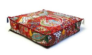"""Cotton Indian Kantha Square Pouf Seating Ottoman Cover Handmade 35x35x5"""" Inches"""