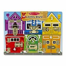 Doors Latches Locks Numbers Animals Wood Busy Puzzle Board Learn Motor Skill Toy