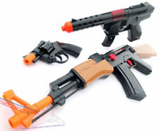 3x Toy Guns Friction AK-47 Toy Rifle KG-9 Toy Machine Gun & Revolver Cap Gun Set