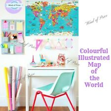 Kids World Map Poster Colourful Large Wall sticker Chirdlen Giant Globe School