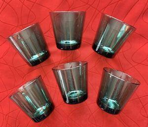 Set 6 Vintage Kaj Franck Green Littala Tumblers Rocks Glasses Mid-Century B2