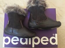 Pediped Grip n Go Toddler Girl Brown Leather Boots Faux Fur Size EU 18 UK 3 JP12