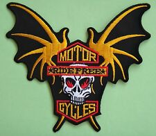 Ecusson brodé patch thermocollant Motorcycles Ride free Tête de Mort Bikers