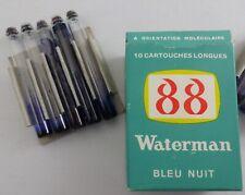 LOT W7 1 BOiTE  DE 10 CARTOUCHES VERRE JIF WATERMAN 88 LONGUES   bleu nuit