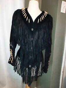 Vintage Ren Ellis Renegade Black Fringe Suede Jacket size 10