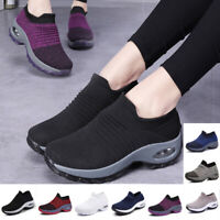 Damen Sportschuhe Turnschuhe Laufschuhe Stricken Sneaker Plateau Freizeit Schuhe