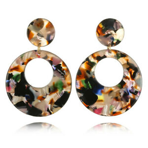 Women Bohemian Acrylic Resin Round Hoop Earrings Drop Dangle Fashion Jewelry