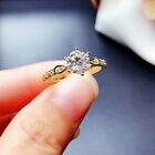 Elegant 18k Yellow Gold Plated Rings Round Cut Cubic Zirconia Jewelry Size 6-10