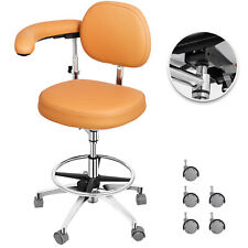 Dental Stool Medical Assistant Nurse Chair W/Armrest Adjustable PU Leather Khaki