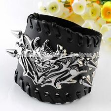 Punk EMO Black Demons Skull Cuff Spike Link Chain Leather Bracelet Men Wristband