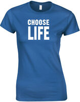 Choose Life Trainspotting Inspired Ladies Printed T Shirt Fitted Women Tee Top