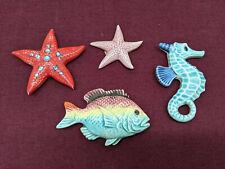Vtg Ceramic Fish Wall Plaque Bathroom Decor Hanging Seahorse, Fish & 2 Starfish