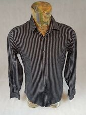Calvin Klein Mens Shirt Black Striped Long Sleeve 100% Cotton