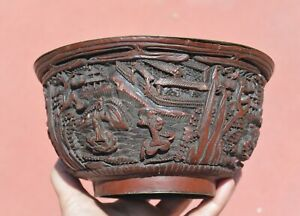 1900's Chinese Cinnabar Lacquer Carved Carving Bowl Figurine Figure