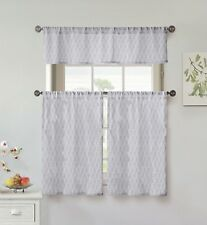 Gray and White Cotton 3 Piece Window Curtain Set: Modern Leaf Design