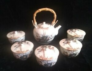 """chinese tea set bamboo handle teapot 5 1/2"""" x4"""" with 5 lidded cups"""