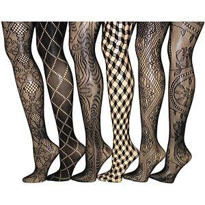 Women Fishnet Lace Stocking Tights Pantyhose Regular & Plus Sizes 1001 (6-Pairs)