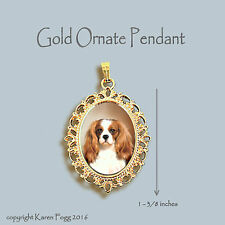Cavalier King Charles Spaniel Fawn - Ornate Gold Pendant Necklace