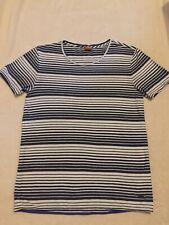 "HUGO BOSS ORANGE navy Blue / White Striped T Shirt Size M 38"" Chest VGC"