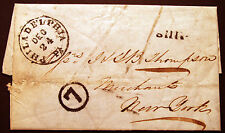 1852 Stampless Ship Entire Nassau-Phila-New York