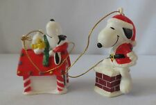 2 Peanuts United Feature Syndicate, Santa Snoopy Christmas Ornaments