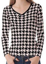 Houndstooth Women Lady V Neckline Long Sleeve Tee T-shirt b23 acq03314