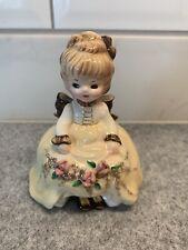 Vintage Josef Originals Young Girl in Fancy Dress W/Dress Up Shoes/Black Eyes