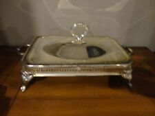 VINTAGE SILVER PLATED RECTANGULAR CHAFING DISH ORNATE SERVING STAND WITH LID