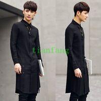 Mens Long Sleeve New Linen Cotton Slim Fit Shirt Casual Black Lapel Vogue Button