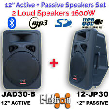 "2X 12"" inch Speakers 1600W Active+Passive Laud Sound System Bluetooth USB PA Set"