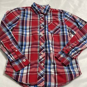 Boys Size 8 Arizona Jean Co. Red White Blue Plaid Button-up Shirt Long Sleeve