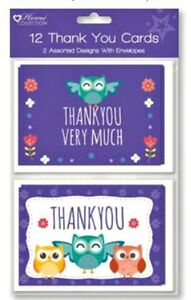 12 THANK YOU CARDS WOODLANDS birthday party  girl boy kids+ envelopes