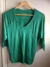Guess Women's Deep V-Neck Top With 3/4 Bat Wing Sleeves In Green Size Xs